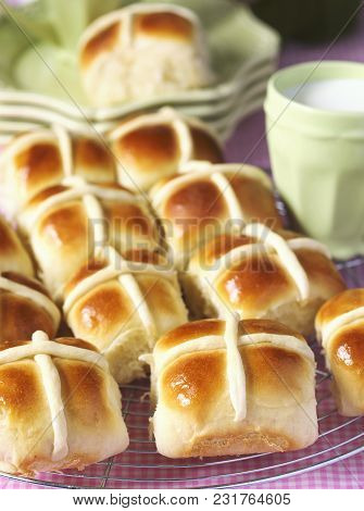 Homemade Easter Hot Cross Buns. Traditional Yeast Buns
