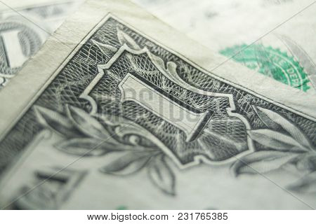 One Dollar Bill Close Up High Quality Stock Photo