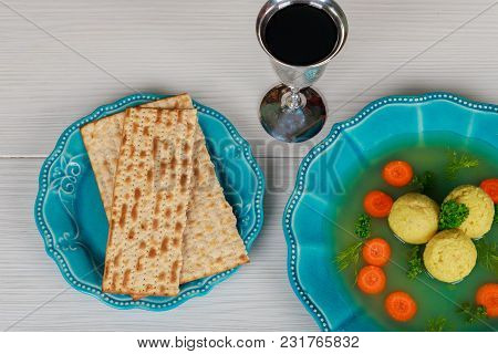 Traditional Jewish Passover Dish Matzah Ball Soup Served With Matzah, Jewish Symbols For The Passove