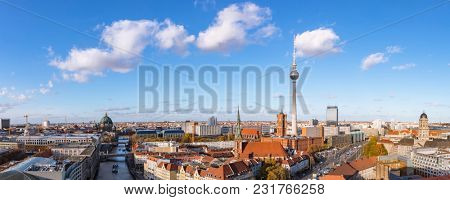 Panorama of Berlin City Skyline with TV Tower, Nikolaikirche, Berlin Cathedral and the Red Town Hall