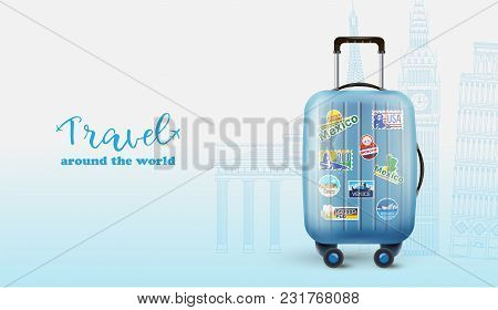 Blue Poster With Encouraging Message Saying Travel Around The World And Blue Bag.