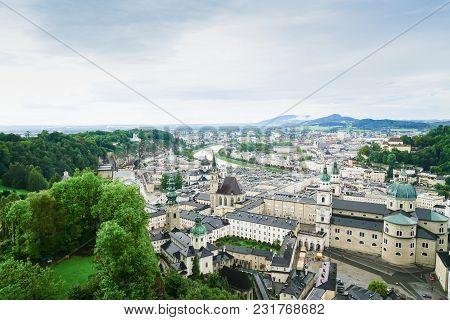 Salzburg Austria - September 7 2017; Salzburg City Skyline From High Point Of View In Salzburg Fort