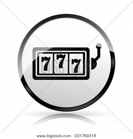 Illustration Of Slot Machine Icon On White Background