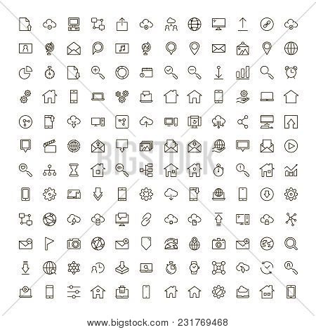 Web Icon Set. Collection Of High Quality Outline Website Pictograms In Modern Flat Style. Black Inte