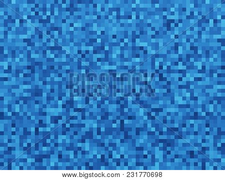Blue Mosaic Tile Seamless Pattern Background For Continuous Replicate. Graphic Illustration.