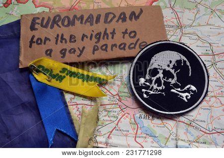 ILLUSTRATIVE EDITORIAL. New chevron of Ukrainian nazionalist battalion after LGBT activists riot at 2014. Kiev,Ukraine.March 13, 2018