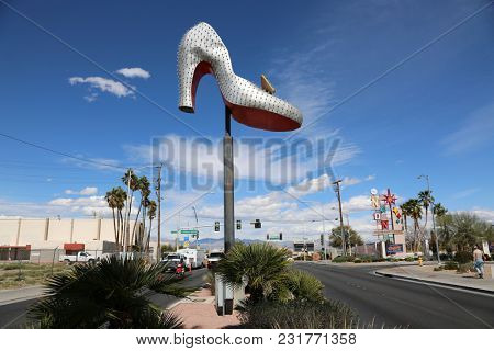 Las Vegas, Nevada, 3-15-2018: The iconic Silver Slipper neon sign downtown Las Vegas, near the popular Neon Bone Yard Museum. Las Vegas is known for its historical and beautiful neon signs.