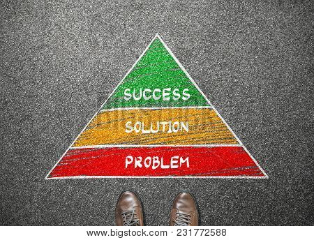 Businessman Stand Facing With Success, Solution And Problem Pyramid, Business Concept