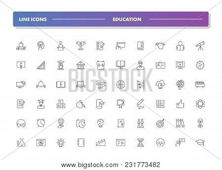 Set Of 60 Line Icons. Education Collection. Vector Illustration Or Studying, Learning, Teaching, Wis