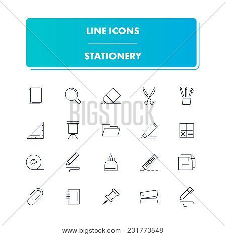 Line Icons Set. Stationery Pack. Vector Illustration With Elements For Work In Office And Freelance