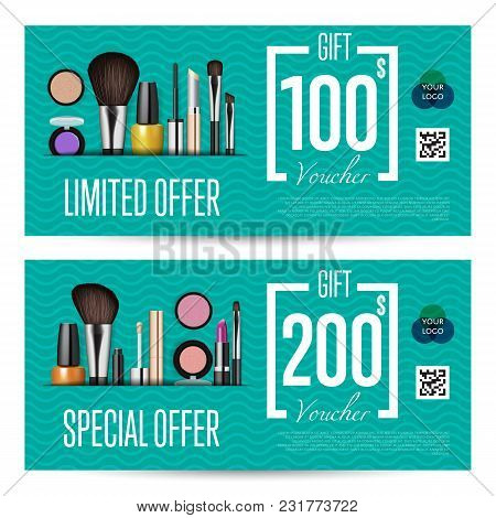 Cosmetics Gift Voucher Template. Gift Coupon With Fashion Makeup Accessories And Prepaid Sum. Makeup