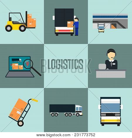 Logistics Company And Warehouse Icon Set Isolated Illustration. Forklift Truck, Storage Terminal, Lo