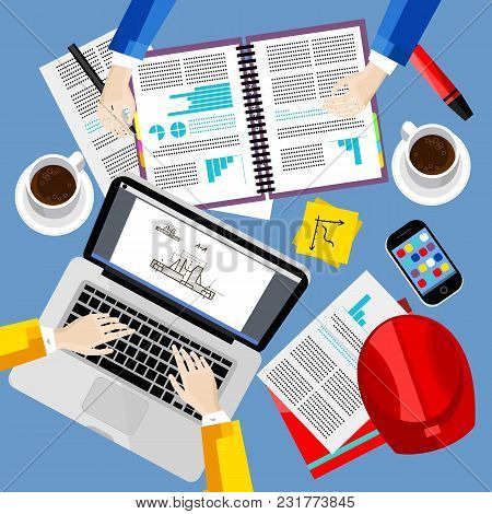 Business Office And Workspace Background, Illustration. Business Workplace With Human Hands, Laptop,