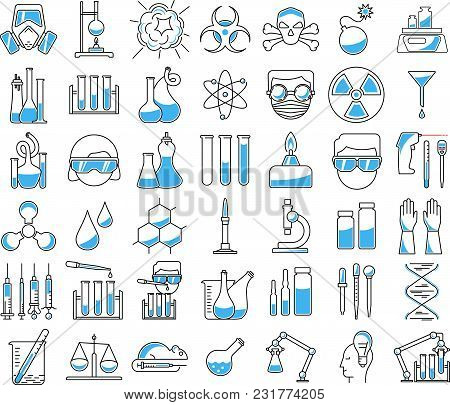 Big Set Of Chemistry Icons In Linear Style. Include Chemical Equpments And Other Concept. Vector Ill