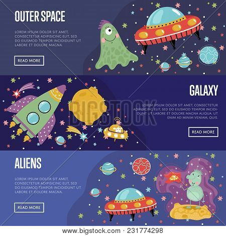 Outer Space, Galaxy, Aliens Cartoon Banners. Funny Alien Character, Flying Saucer, Rocket, Star, Pla