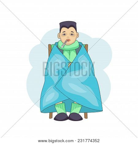 Young Male Character Cartoon Cold Isolated On White Background. Asian Boy In Blanket With Temperatur