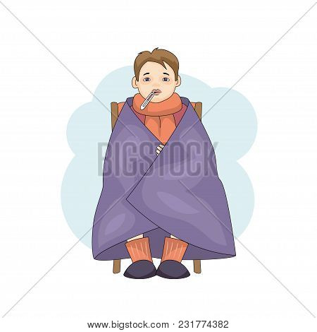 Young Male Character Cartoon Cold Isolated On White Background. Caucasian Boy In Blanket With Temper