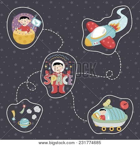 Space Concept In Cartoon Style. Rocket, Astronaut, Exploration Rover, Star, Planet, Comet, Asteroid