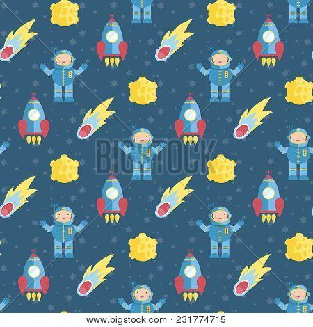 Space Interstellar Travels Cartoon Seamless Pattern. Flying Spaceship, Astronaut In Spacesuit, Fiery