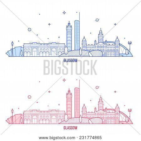 Glasgow Skyline, Scotland, Uk. This Vector Illustration Represents The City With Its Most Notable Bu