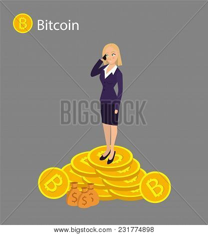 Isometric Businesswoman Investor On A Stack Of Bitcoin. The Concept For Web Or Infographics Vector I