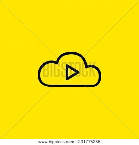 Icon Of Cloud Play. Storage, Information, Entertainment. Cloud Hosting Concept. Can Be Used For Topi