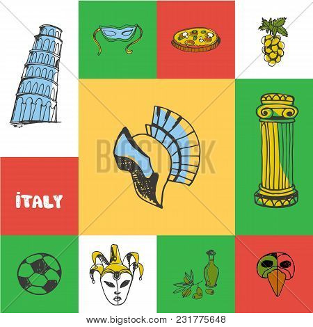 Italy Checkered Concept In National Colors. Gladiator Helmet, Pizza, Carnival Mask, Pisa Tower, Socc