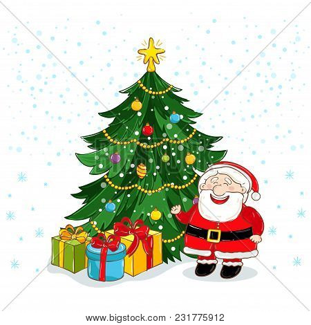 Merry Christmas Greeting Card With Santa Claus And Decorated Christmas Tree Illustration. Santa With