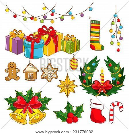 Merry Christmas And Happy New Year Collection Illustration. Light Decoration, Garland Wreathe, Giftb