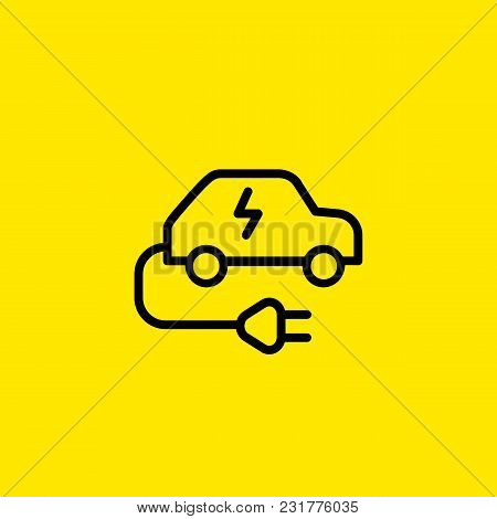 Icon Of Electric Car. Cable, Plug, Voltage. Vehicle Concept. Can Be Used For Topics Like Transport,