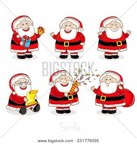 Christmas Santa Claus Characters Collection Illustration. Smiling Santa With Sack Full Of Gifts, Con