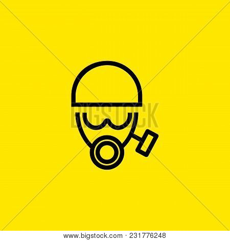Line Icon Of Face In Gas Mask And Helmet. Protective Workwear, Chemical Protection, Firefighter Unif