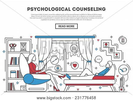 Psychological Counseling Website Template Illustration. Psychologist With Patient On Sofa. Therapy S