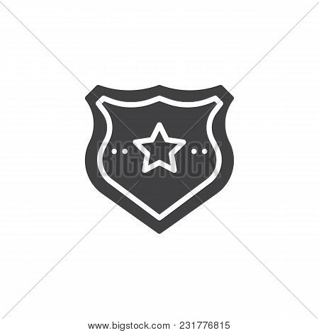 Police Badge Vector Icon. Filled Flat Sign For Mobile Concept And Web Design. Sheriff Badge With Sta