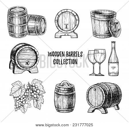 Wooden Wine Barrel With Tap Freehand Pencil Drawing Set Illustration. Bottle Of Wine, Traditional Wi