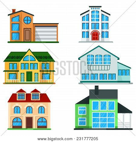 Exterior Of Two And Three Stories Family Home Isolated On White Background. Vacation House Set. Real