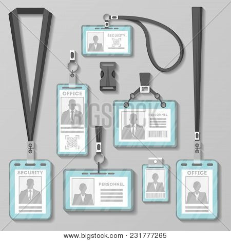 Identification Card With Lanyard Set Isolated Illustration. Blank Plastic Access Card, Name Tag Hold