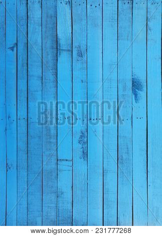 Blue Textures Of Old Wooden Wall Background.