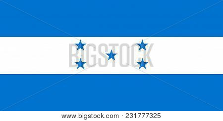 Flag Of Honduras In Official Colors And Proportions, Vector Image