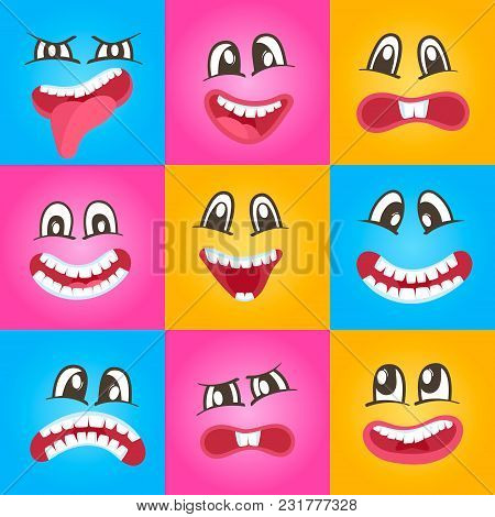Smiley Faces With Different Facial Expressions Set Isolated Illustration. Happiness, Anger, Joy, Fea