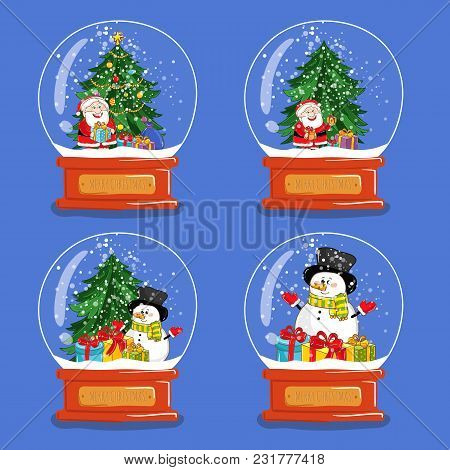 Christmas Snow Globes. Santa, Snowman, Gifts, Christmas Tree Cartoon S. Glass Souvenir With Xmas Att