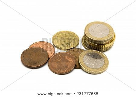 Various Euro Coins Isolated On White Background
