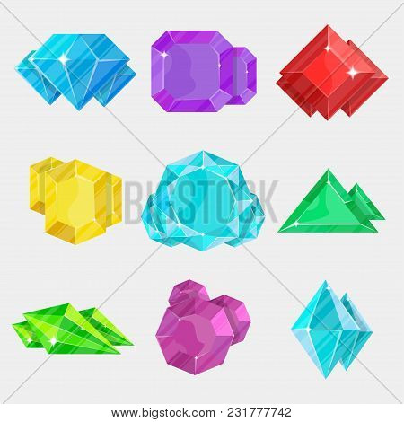 Jewelry Colorful Gemstone Icon Set Illustration Isolated On White Background. Diamond, Sapphire, Ame