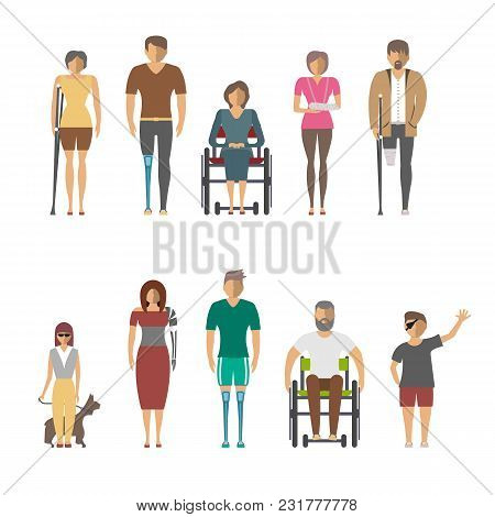 Disabled People Isolated Set In Flat Design Illustration. Invalid Person, Blind Woman, Broken Arm, P