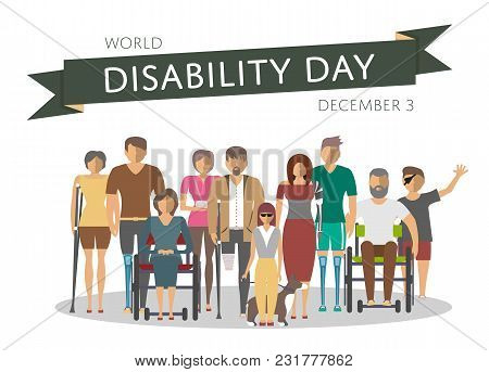 December 3 - World Disability Day Greeting Card Template In Flat Design Illustration. Invalid Person