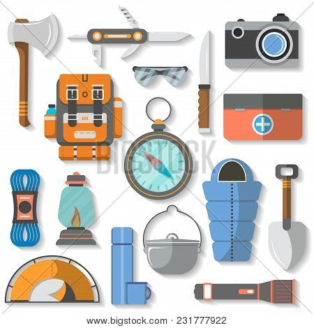 Tourist Equipment Icon Set Isolated Illustration. Backpack, Jackknife, Ax, First Aid Kit, Camera, Kn