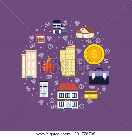 Investment In Real Estate Illustration. Design Concept For Property Investment, Buying And Renting C