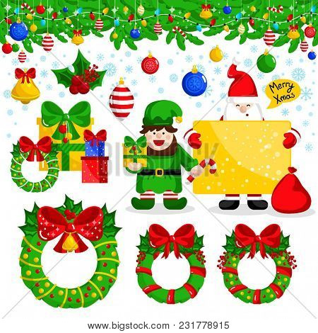 Merry Christmas And Happy New Year Collection Illustration. Santa Claus And Christmas Elf With Giftb