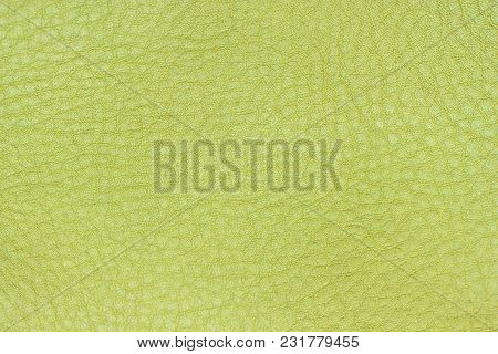 Genuine Leather Texture, Lime, Light Green Color. Modern Background, Backdrop, Substrate, Compositio