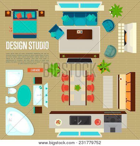 Design Studio Concept With Top View Apartment Interior Illustration. Living Room, Bedroom, Kitchen,